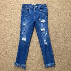 """Zara """"Ocean Blue"""" Cropped Jeans"""